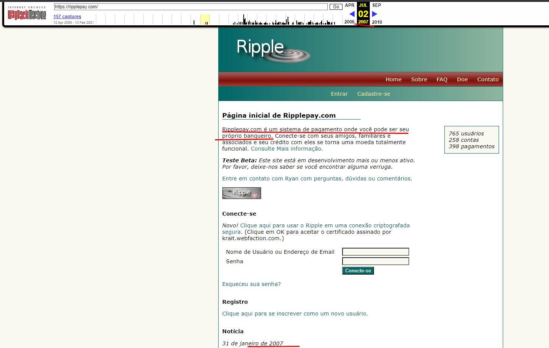 Website von Ripple 2007. Quelle: Wayback Machine https://web.archive.org/web/20070702211031/https://ripplepay.com/